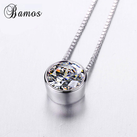 Bamos Simple & Fashion 925 Silver Filled Bridal Choker Round White AAA Zircon Pendants & Necklaces For Women Lover Gifts HP045 Lahore