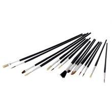 15pcs Watercolor Oil Bristle Hair Paint Brush Set Plastic Handle Gouache Painting Art Supplies For Kids Children FP
