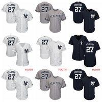 MLB Men Women Youth Kids New York Yankees Giancarlo Stanton Majestic Cool Base Replica Player Jersey