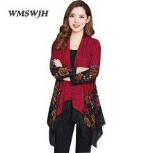 Весенний женский винтажный вязаный свитер размера плюс L-7XL с кисточками корейский Свободный кардиган с принтом женская модная шаль
