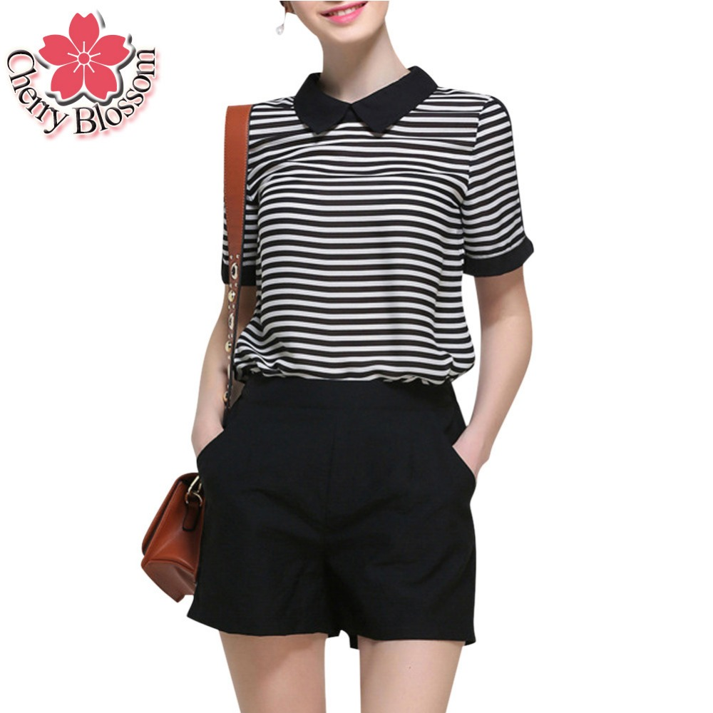 Shirt design china - Cherry Blossom Women S Sets New Design Striped Short Sleeve T Shirts And Summer Black Slim Shorts