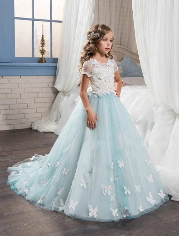 Exquisite Blue White For Girls First Communion Dress Lace With Butterfly Appliques 2017 Long Flower Girl Dresses Pageant Gown blue pageant dresses for little girls a line spaghetti straps solid appliques crystal lace up flower girl first communion gowns