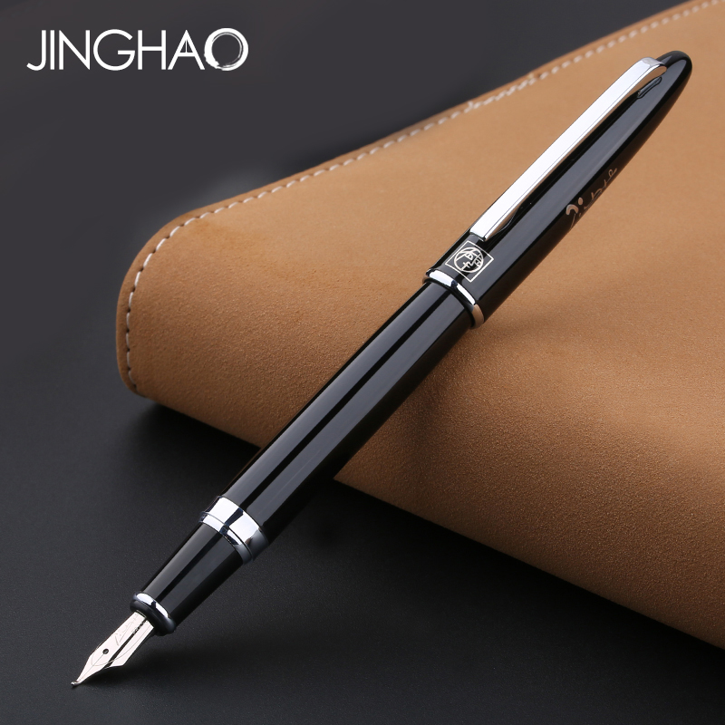 Luxury Pimio 919 Silver Clip Black Bent Nib Art Fountain Pen 1.0mm Metal Calligraphy Pens with an Original Box School Supplies black germany duke bent nib 0 8mm art fountain pen business gift calligraphy pens office and school supplies free shipping