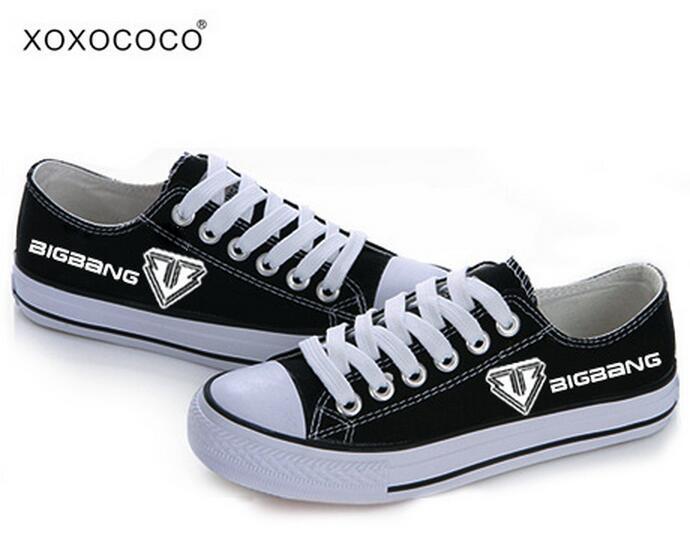 BIGBANG Zapatos de Lona Unisex Para Mujer Negro de Encaje Talón Plano Zapatos Nu