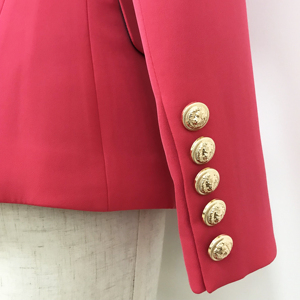 Image 5 - 高品質最新 2020 デザイナーブレザー女性のダブルブレスト金属ライオンボタンスリムフィットブレザージャケットスイカ赤