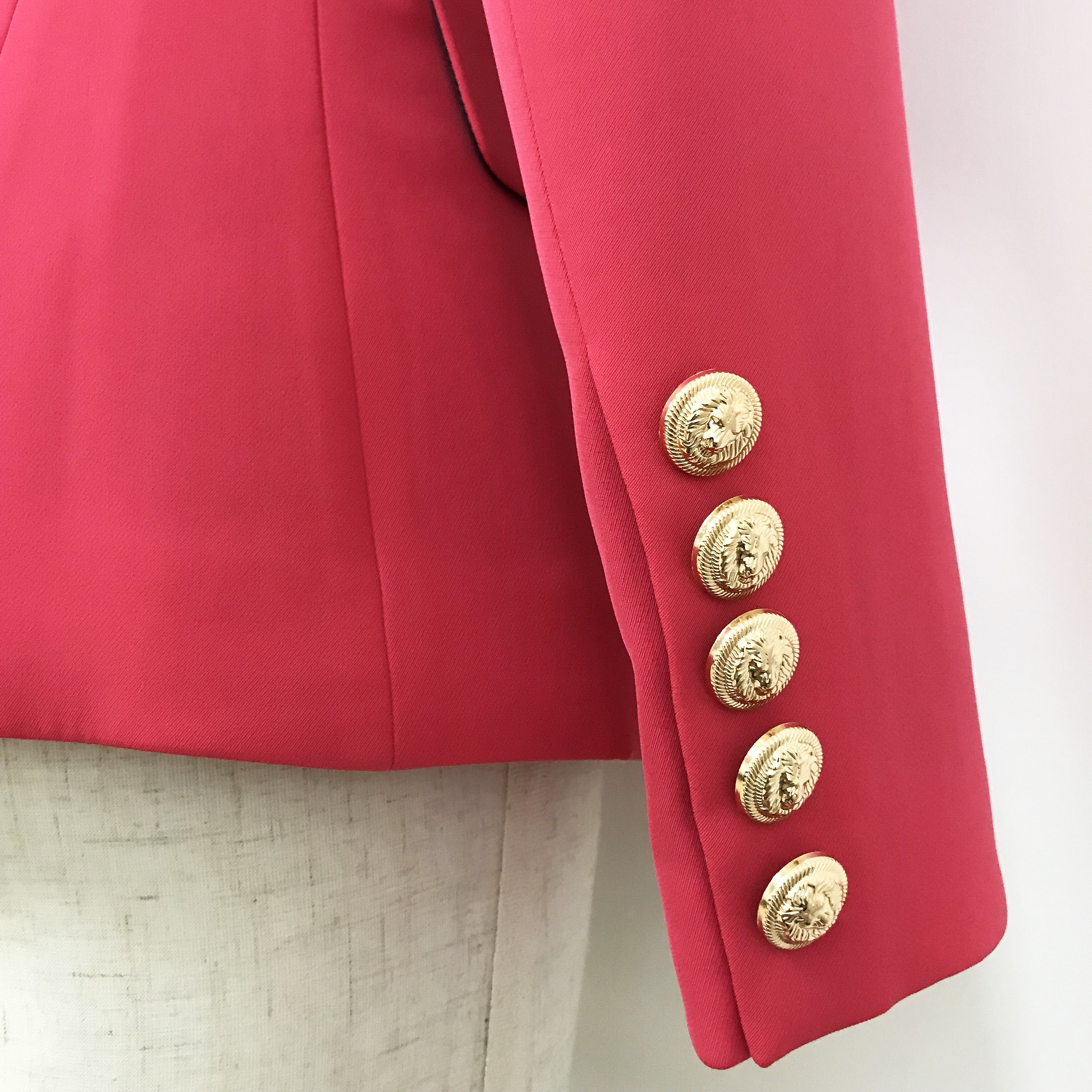 HIGH QUALITY Newest 2019 Designer Blazer Women's Double Breasted Metal Lion Buttons Slim Fitting Blazer Jacket Watermelon Red