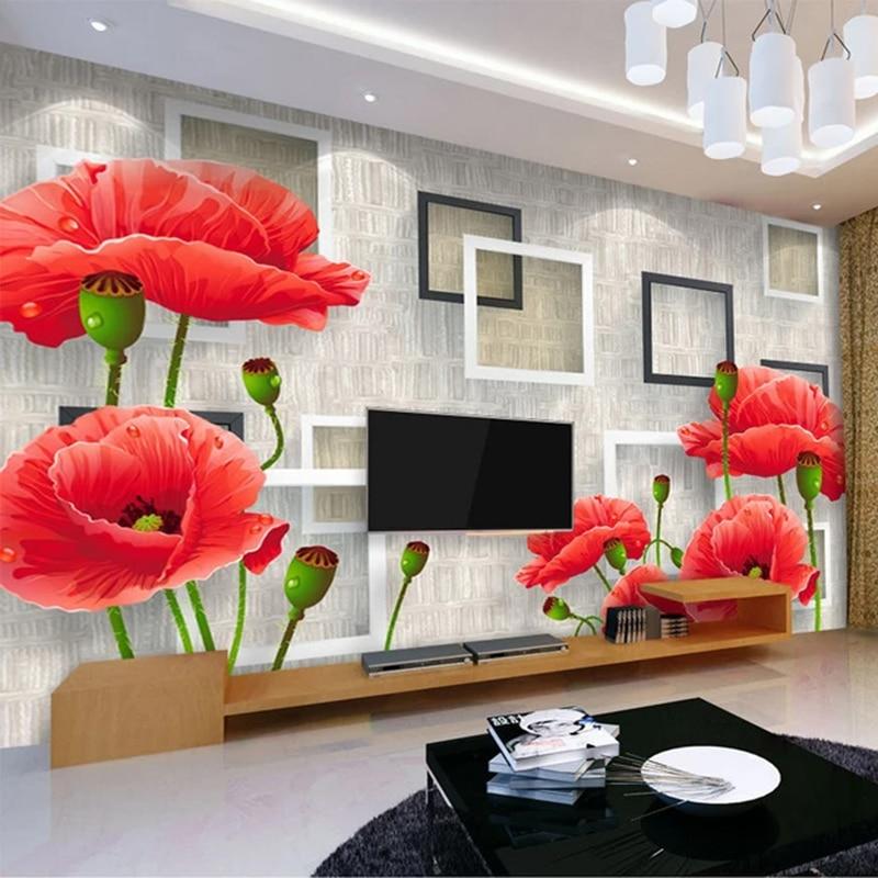 Photo Wallpaper Modern Simple Red Flowers Murals Living Room TV Sofa Bedroom Wall Paper For Walls 3 D Home Decor Papel De Parede