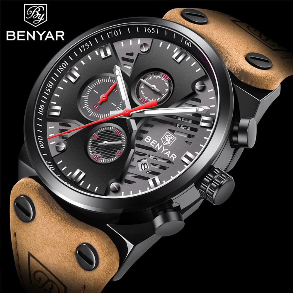 great gift, benyar watch, quartz watch, professional service, 100% good quality men's watches, good choice, reason years warranty, quality related issues customer satisfaction, material buy, waterproof wrist watch care-free, abrasion resistance, occasion outdoor business party, fashion birthday christmas valentine day wedding, year gift, leather band, high quality leather band, accurate time keeping, men father, chronograph date waterproof features quality strap, comfortable appearance, atmosphere multi-function chronograph watch, unbelievable quality, nice original box, good gift, nice daymy dear friend, movement japanese imported quartz analog movement, battery provide precise time, long-term running, sales service, 30-day refund, 1-year warranty, satisfactory solution, red design, sub-dials calendar window display, provide months warranty days money back, shopping experience, luminous function, scale hour, minute hands, round watch dial time mark, multi-function sub-dials dress/business watch, luxury simple design watch perfect gift, cleaning cloth, full functional chronograph, mature style, mens watch classic rectangle case, alloy roman numerals, silver dial, contrasting blue markers, unique watch hands benyar wristwatch