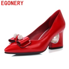 EGONERY shoes 2017 spring and autumn elegant hoof high heels shoes concise crystal pointed toe zapatos mujer superstar shoes