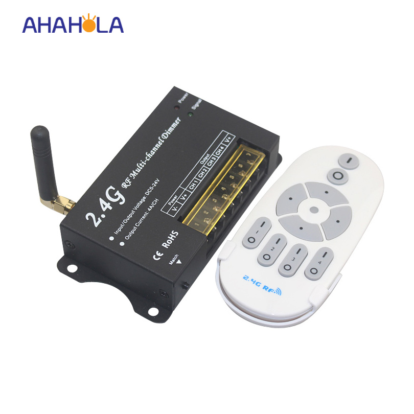 ФОТО 24G wireless remote control led dimmer 12v 24v output 4 channel lamp dimming pwm controller distance 30m
