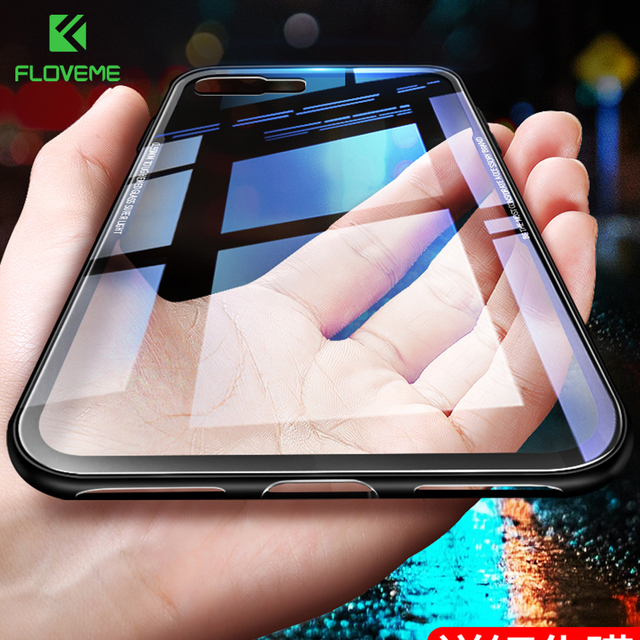 detailing e34f6 4d7dd US $3.99 20% OFF|FLOVEME Tempered Glass Phone Case For iPhone XS Max XR  2018 Cover For Apple iPhone X 7 8 Plus 9H Clear Glass Case Coque  Capinhas-in ...