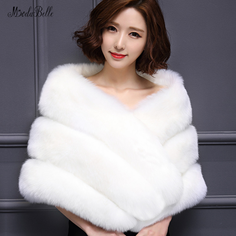 Modabelle blanc mariage boléro gris nuptiale châle boléro z8.5 rouge mariage fourrure manteau Chal De Piel femmes fausse fourrure etole