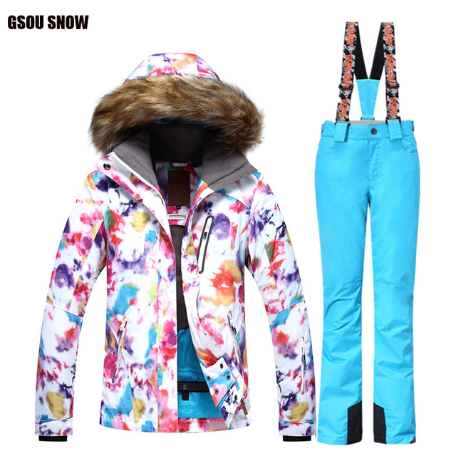 3330509476c77 2018 Marki GSOU SNOW damskie Kombinezon Narciarski Snowboard Narciarska  Kurtka Zestawy Spodnie narciarskie Ciepłe Zimowe Outdoor