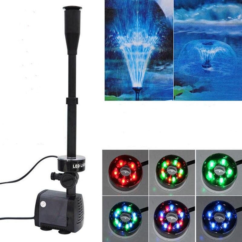 Ev ve Bahçe'ten Su Pompaları'de Akvaryum balık gölet LED dalgıç pompa 40 w 2000L/h bahçe çeşme makinesi değiştirilebilir renkli LED'da  Grup 1