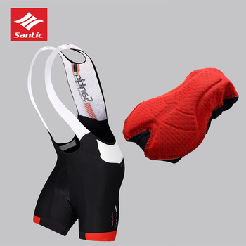 2018 Santic High Quality Men Cycling Bib Shorts Jersey Downhill Outdoor Mesh Breathable Padded Cool Men's Cycling Bibs Sports
