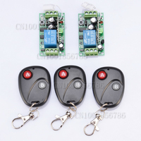 Free Shipping 12V 1CH RF Wireless Remote Control Switch System 2 Receivers 3 Transmitter Learning Code
