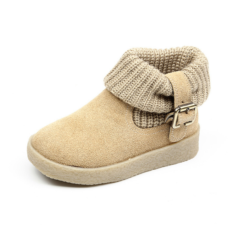 Kids Snow Boots Genuine Leather New Fashion Classic Children Botas Boys Girls Winter Boots with Buckle Beige Black Size 26-37 ...