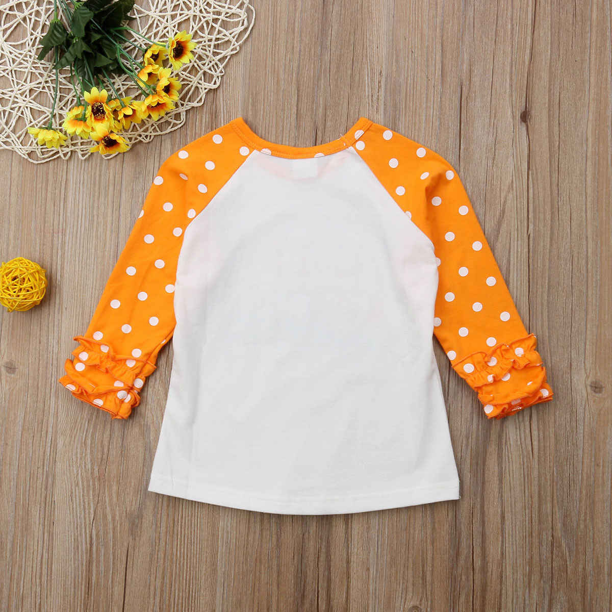 Peuter Baby Kids Meisje Leuke Polka Dot Ruffle Lange Mouwen Katoen Pompoen T-shirt Tops Tee Kleding