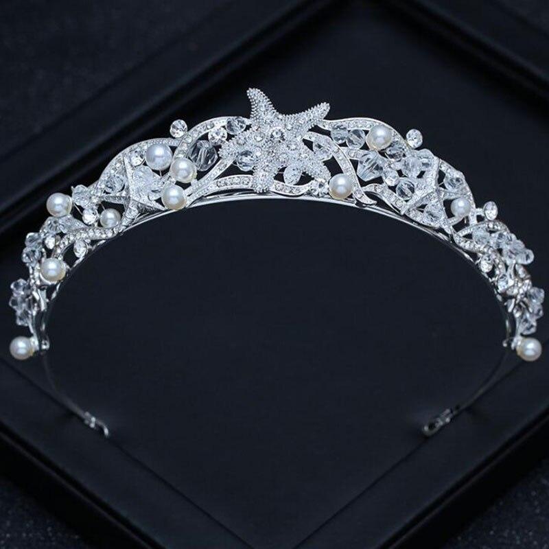 Prinzessin Tiara Krone stirnband Braut hochzeit tiaras und kronen für frauen Kopfschmuck Seestern Haar schmuck Zubehör