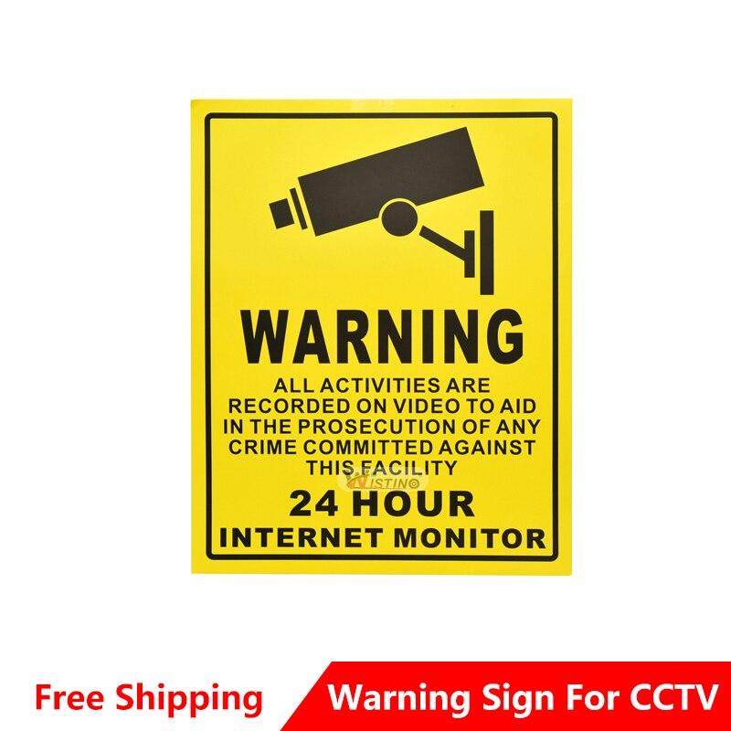 Buy wistino cctv warning signs sticker - Surveillance wallpaper ...