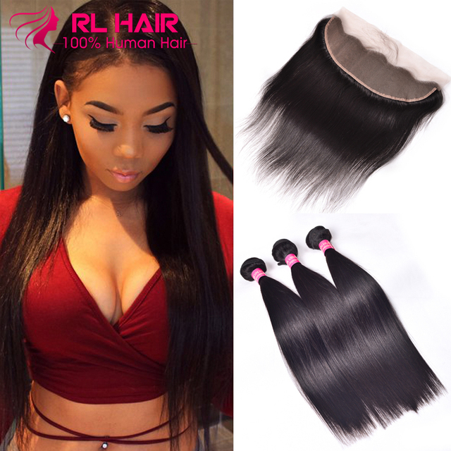 Brazilian Straight Hair With Closure Ear To Ear Lace Frontal Closure With Bundles Human Hair With Closure 3 Bundles With Closure