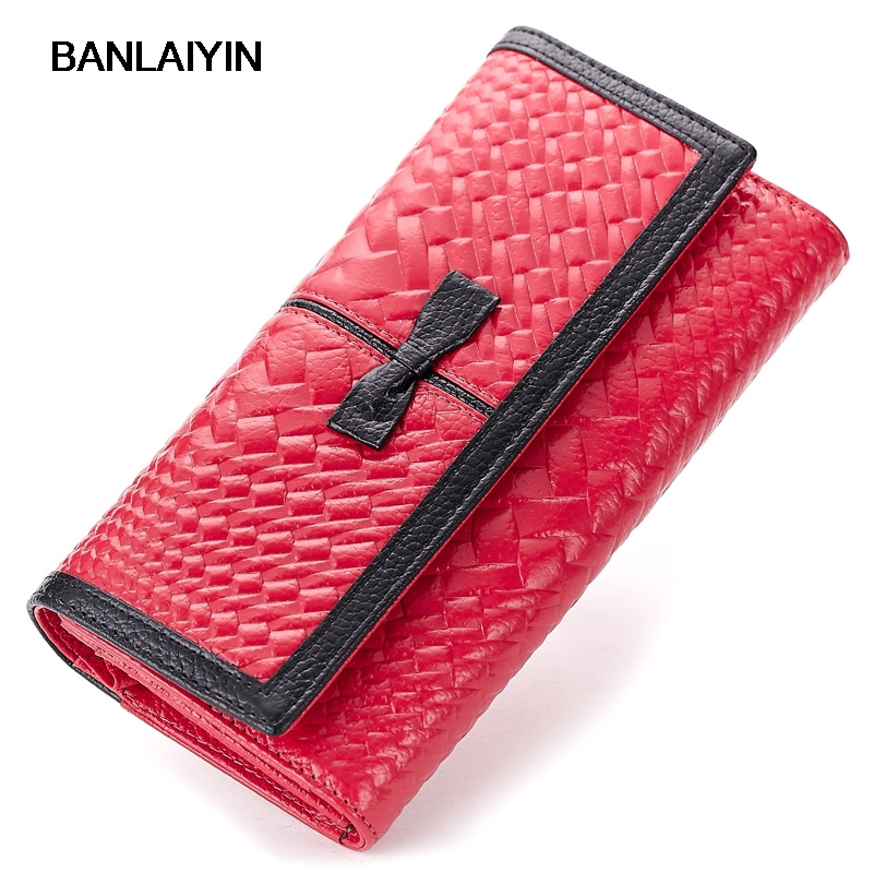 New Bow Genuine Leather Women Wallet Fashion Long Triple Fold Famous Design Wallet Embossed Purse Cow Leather Wallet