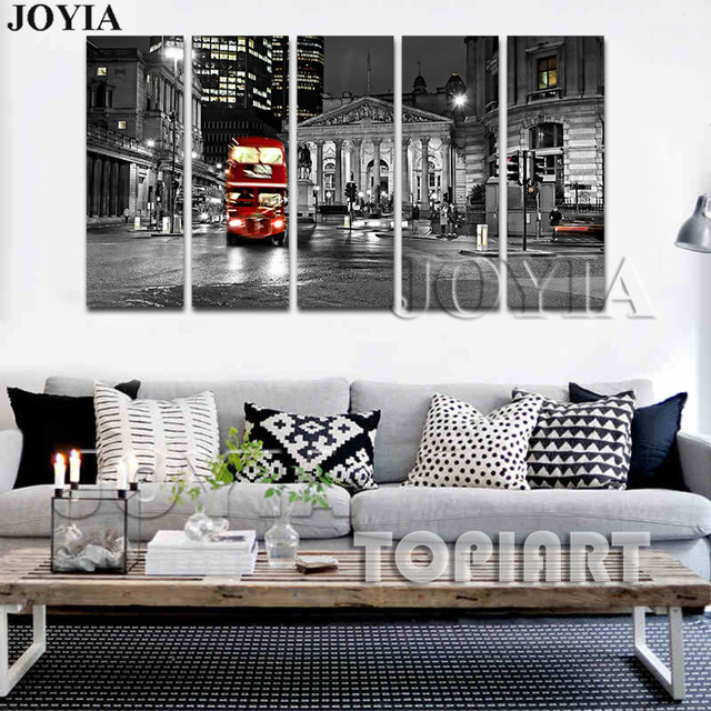 City Night Wall Art Canvas Prints London Red Routemast Decorative Paintings 5 Panel Large Canvas Printings Home Decor No Frame