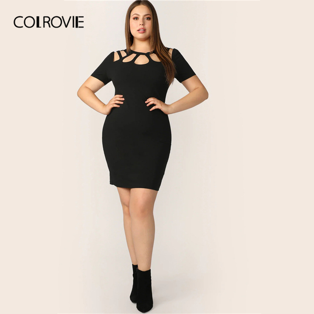 COLROVIE Plus Size Black Solid Cut Out Bodycon Elegant Dress Women 2019 Summer Short Sleeve Pencil Mini Office Ladies Dresses 4