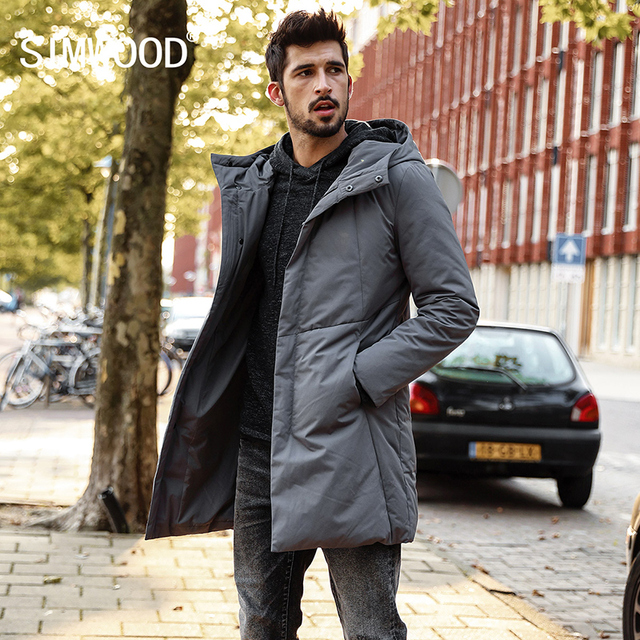 SIMWOOD 2018 Winter  White Duck Down Coats Men Jackets men Fashion Warm Down Jacket Slim Fit Hooded High Quality YR017005