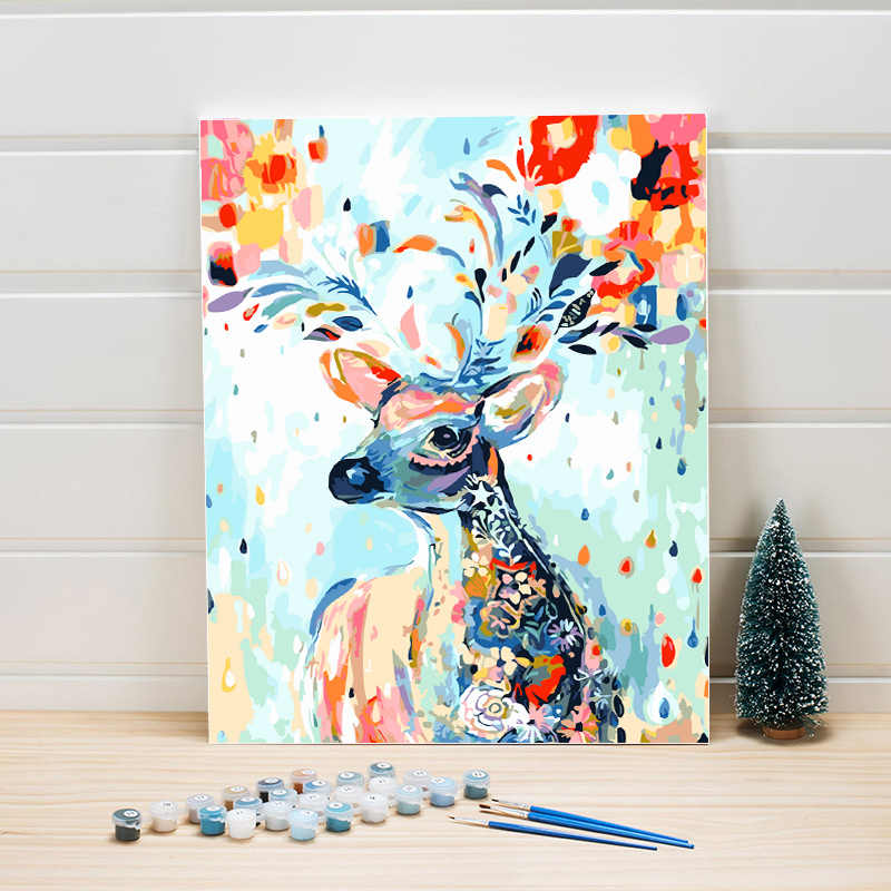 DIY Paint Painting By Number Deer Animal Acrylic Abstract Art ...