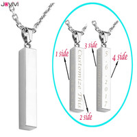 JOVIVI Rectangular Custom Personality Pendant Necklace Pendant For 316l Stainless Steel Jewelry Friend Gift 24 Chain