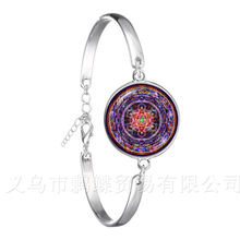 OM Yoga Classic Bracelet Mandala Flower of Life 18mm Cabochon Glass Dome Silver Plated Chain Bangle For Women Men Gift(China)