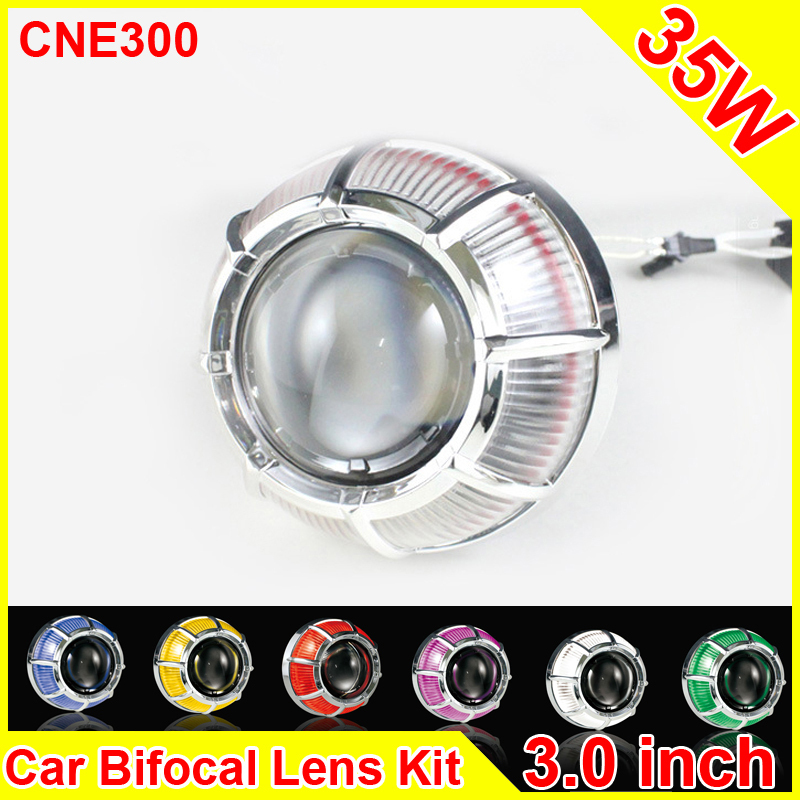 3.0 Inch 35W Car H1 H4 H7 Bi Xenon Projector Lens DIY Projector Headlight Lens E39 E46 CCFL Angel Eyes Car Headlight Refit royalin car styling hid h1 bi xenon headlight projector lens 3 0 inch full metal w 360 devil eyes red blue for h4 h7 auto light