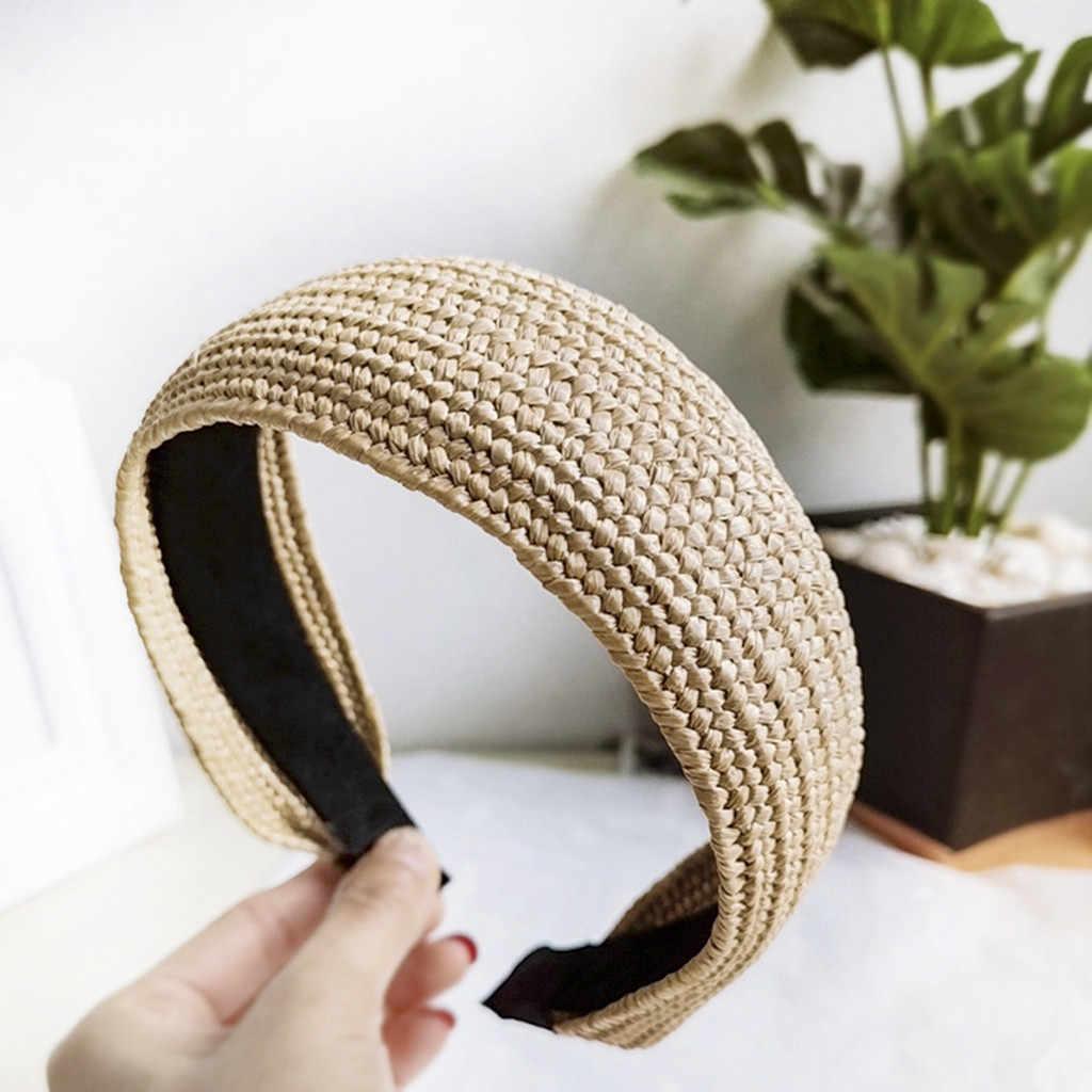 Węzeł krzyżowe wiązanie stałe 1 PC moda pasma włosów Hairband dzianiny żebra kokardka dziewczęca Hoop włosów Lafite słomkowy kapelusz StyleW30531