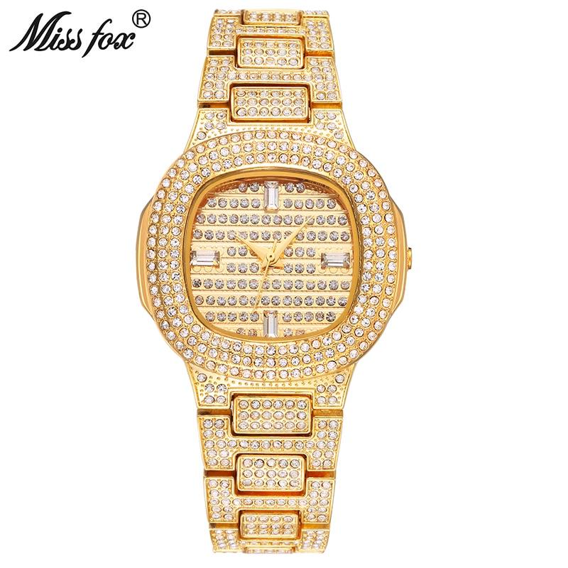 Дамы Золото Мода кварцевые наручные Часы Miss Fox бренд часы алмаз Нержавеющаясталь Для женщин наручные часы