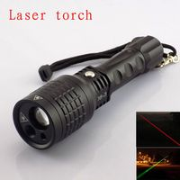 Best quality multipurpose use flashlight With Red /Green Color Laser Light Pointer led tactical torch