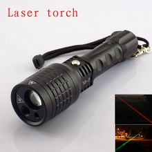 Big discount Best quality multipurpose use flashlight With Red /Green Color Laser Light Pointer led tactical torch