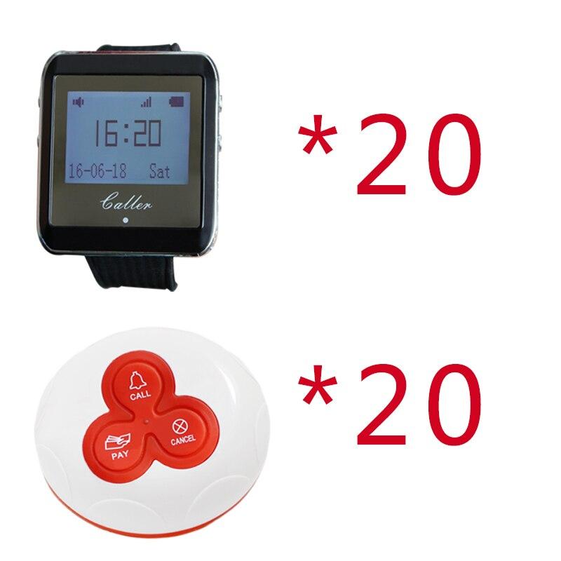 Bouton d'appel de 50 pcs de téléavertisseur de Restaurant sans fil + 2 système de téléavertisseur d'appel d'horloge de montre pour l'infirmière de serveur d'hôpital de Restaurant 433 MHz