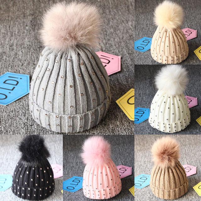 a4e17edebcd Newest 2019 Pop Toddler Kids Girls Boys Baby Infants Winter Warm Crochet  Knit Ball Ball Hat Beanie Caps