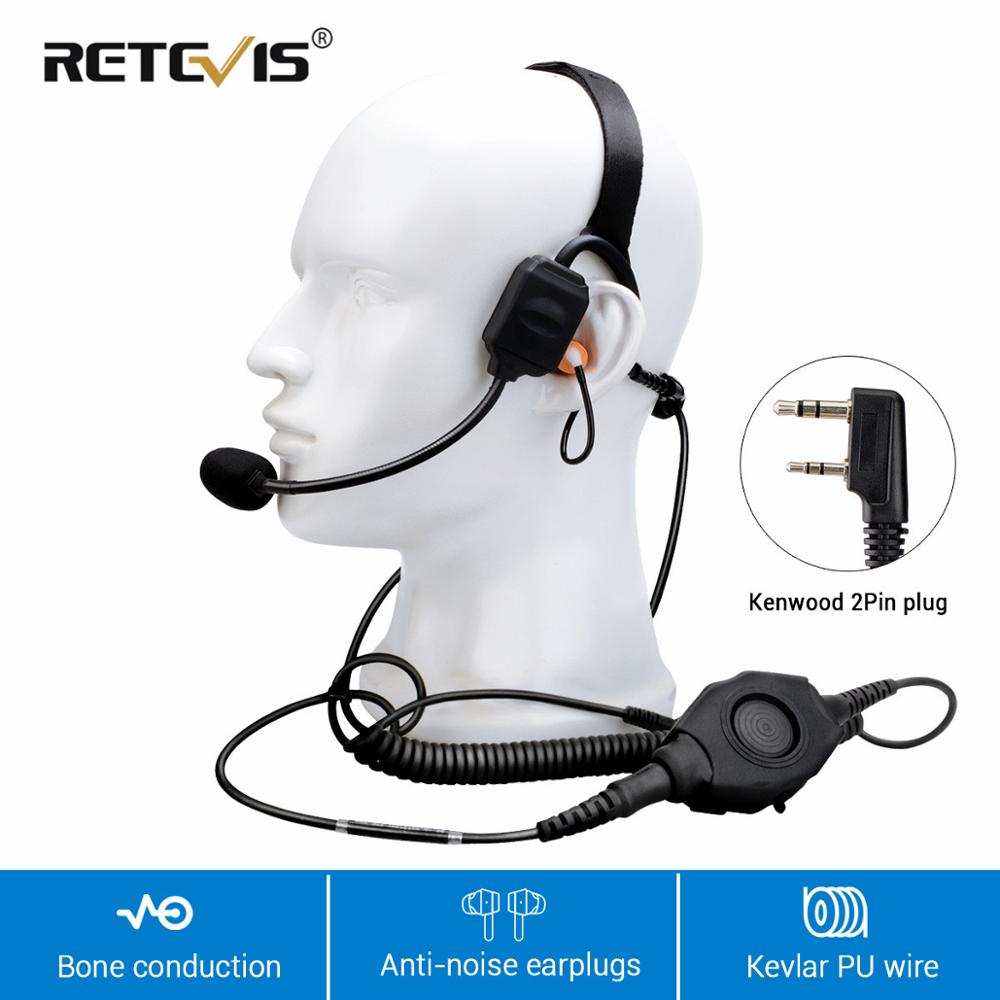 Retevis 2Pin K Plug Vibration Bone Conduction Walkie Talkie Headset Noise Canceling For Kenwood/Baofeng Police/Security Earphone