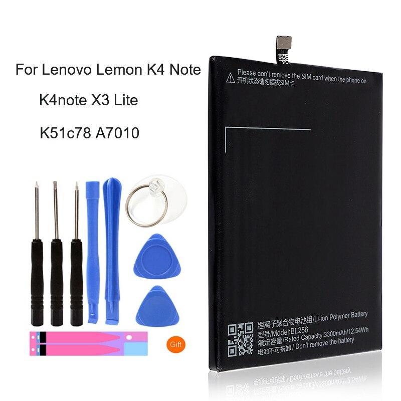 BL256 Original Bateria de Substituição Para Lenovo Lemon K4 Nota K4note X3 Lite K51c78 A7010 BL 256 BL256 3300 mAh Móvel telefone