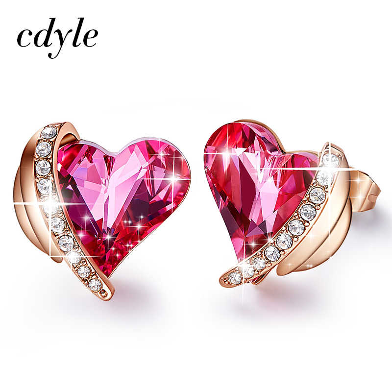 1d1d83337 Cdyle Crystals from Swarovski Pink Angel Earrings Rose Gold Stud Earrings  Sweet Valentine Jewelry Gifts For
