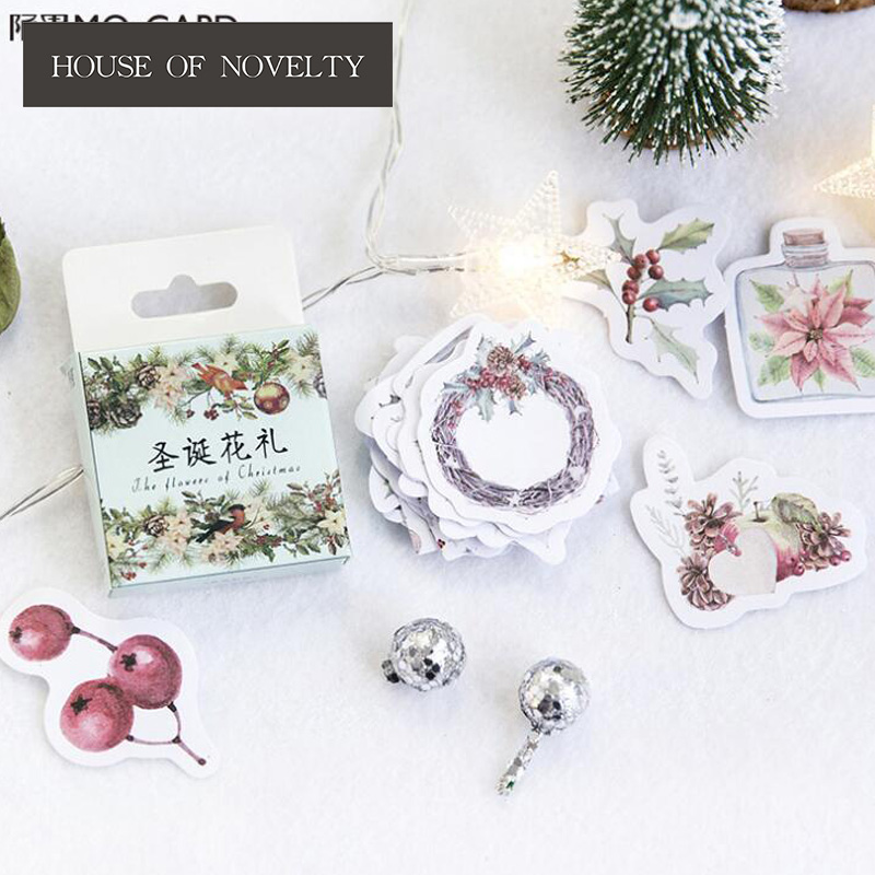The Flower Of Christmas Decorative Stationery Stickers Scrapbooking DIY Diary Album Stick Label spring and fall leaves shape pvc environmental stickers decorative diy scrapbooking keyboard personal diary stationery stickers