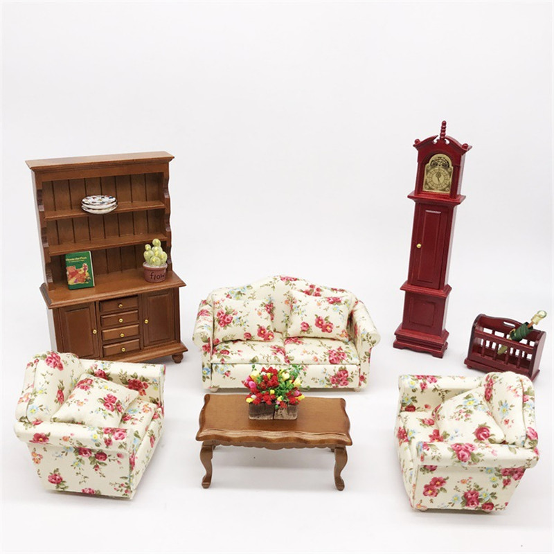 1:12 Dollhouse Miniature Living Room Dolls Furniture Sofa Set Couch Model Floral Style Kids Pretend Play Toy