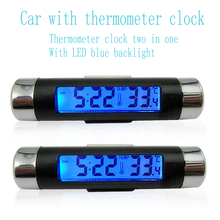 Portable 2 in 1 Car Clock & Digital LCD Temperature Display Electronic  Thermometer Automotive Blue Backlight With Clip