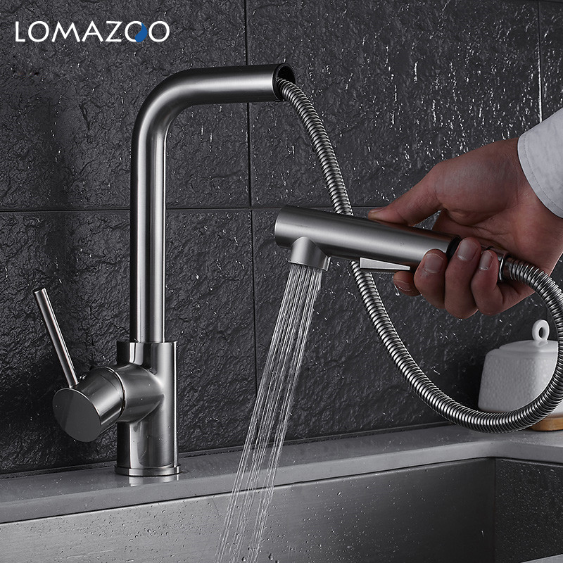 LOMAZOO Kitchen Faucet Bathroom Sink Faucet Adjustable Rotatable Waterfall Faucet Single Handle Brass Rotate mixer