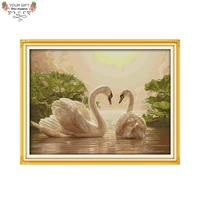 Joy Sunday D656(2) 14CT 11CT Stamped and Counted Home Decoration combed cotton thickened fabric Two Swans Cross Stitch Kits