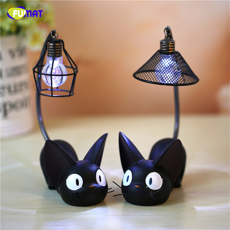 FUNAT JiJi Cat Night Lights For Child Cat Lying Led Night Lamps Home Decoration Resin Cat Gift Kids Child Birthday Night Lights