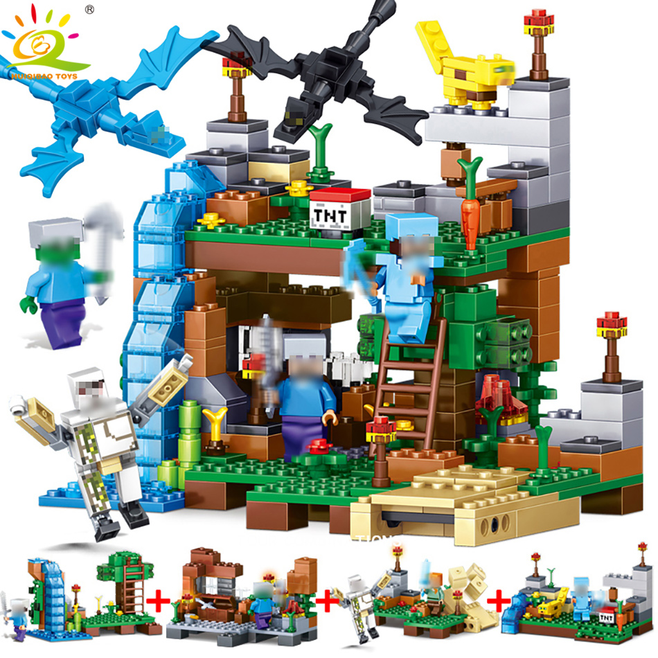 378 pcs 4 en 1 MON MONDE Compatible Legoed Minecrafted chiffres ville Blocs de Construction Briques Ensemble jouets Éducatifs pour enfants cadeau