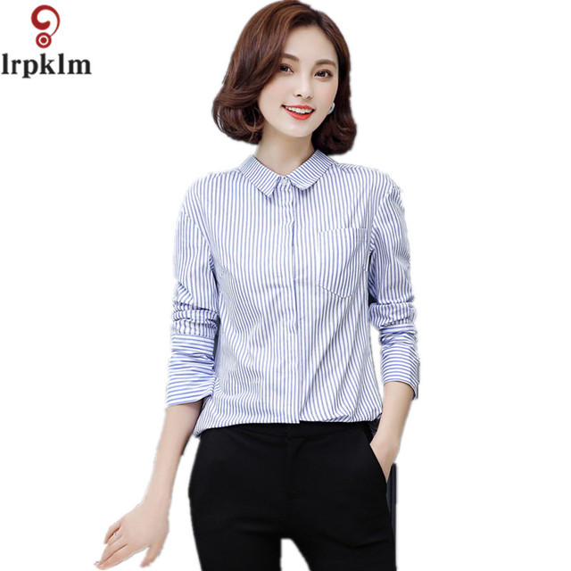fafd7d97c0a Women Turn Down Collar Blouse Women Tops 2017 Spring Casual Sexy Blue Red  Striped Shirt Cool blouses Summer blusas YY645